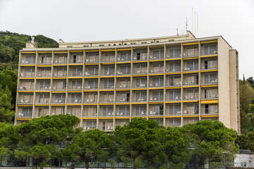 Facade of a new residence hotel in Trieste