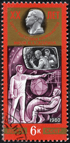 stamp printed in the USSR shows training of cosmonauts