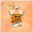 Halloween card with pumpkins and ribbon.