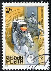 stamp printed in Hungary shows Neil Armstrong