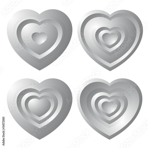 Set of gray hearts