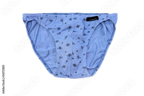 Blue mens panties (slips) with print on a white background