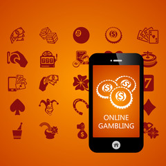 Gambling mobile phone applications vector illustration