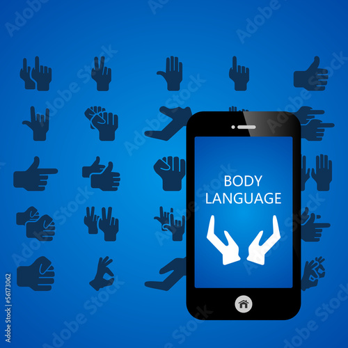Body language mobile phone applications vector illustration