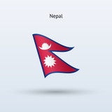 Nepal flag waving form. Vector illustration.