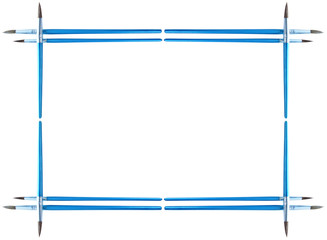Frame made of paintbrushes isolated over white