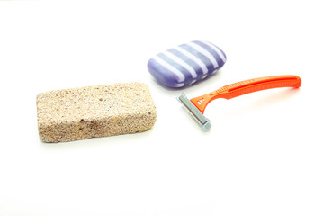 Different means of hygiene - pumice, the machine for shaving and
