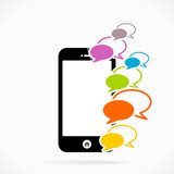 Mobile phone chat logo abstract vector illustration