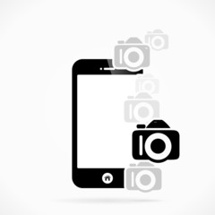 Mobile phone photography logo abstract vector illustration