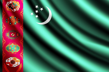 Waving flag of Turkmenistan, vector