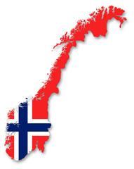 Carte / drapeau de la Norvège