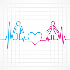 Heartbeat make male,female and heart symbol stock vector
