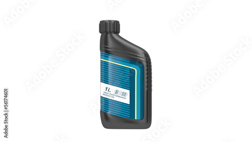 Motor oil bottle rotates on white background