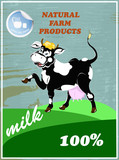 Sticker dairy products.A fresh milk from cheerful cow