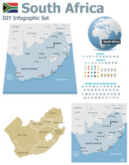South Africa maps with markers