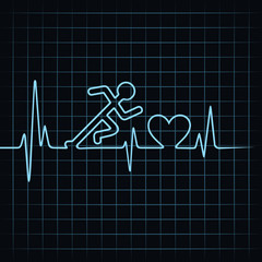 Heartbeat make running man symbol stock vector