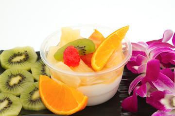 pudding fruit salad , fusion dessert