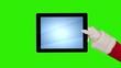 Santa Claus Presenting a Tablet, Green Screen