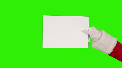 Santa Claus Presenting a White Sheet, Green Screen