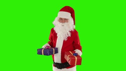 Santa Claus weighting presents, Green Screen
