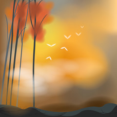 Barren autumn background in sunset scene, create by vector