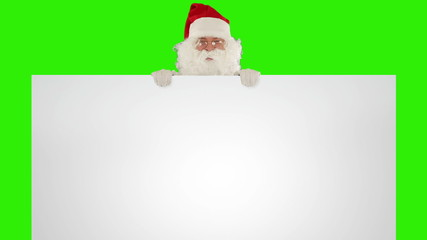 Santa Claus appears behind a white sheet, Green Screen