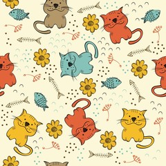 seamless pattern with multi-colored cats
