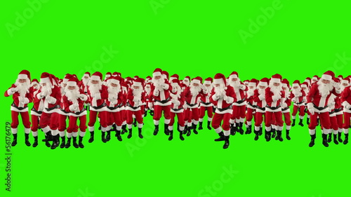 Santa Claus Crowd Dacing, Merry Christmas Shape, Green Screen