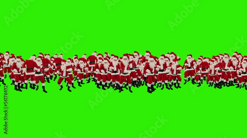 Santa Claus Crowd Dacing, 2013 Shape, Green Screen