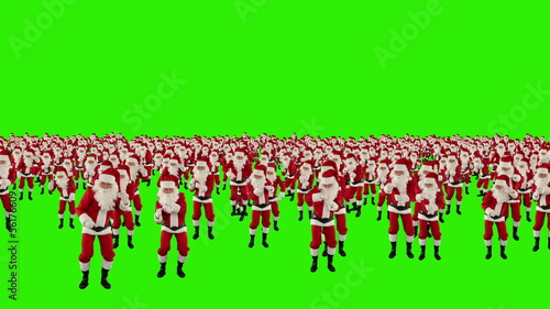 Santa Claus Crowd Dacing, Christmas Party, Green Screen