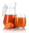 Carrot juice and fresh carrot isolated on white