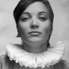 Vintage a-la french princess portrait of a beautiful brunette