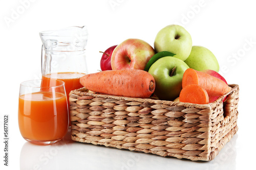 Sweet apples, juice and carrots isolated on white