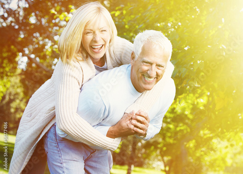 Old people over park background