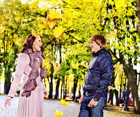 Couple on date autumn outdoor.