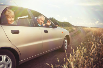 Two elderly people in car