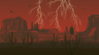 Horizontal illustration of prairie wild west with thunderstorm l