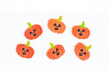 Halloween pumpkin embellishments close up
