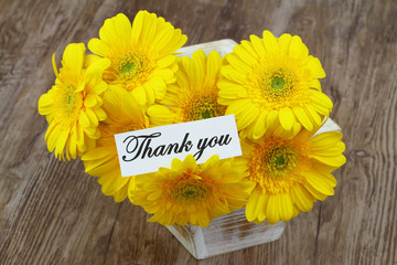 Thank you card with yellow gerbera daisies
