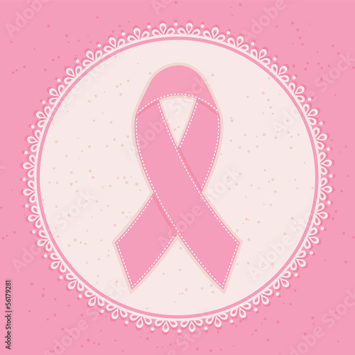 Breast Cancer Awareness Ribbon. Vector illustration.