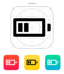 Half charge battery icon. Vector illustration.