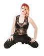 punk woman sit on knees