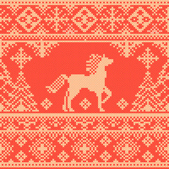 Seamless traditional red Christmas pattern with horse and trees