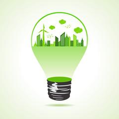 Eco cityscape in bulb stock vector