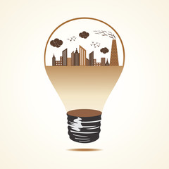 Polluted cityscape in bulb stock vector