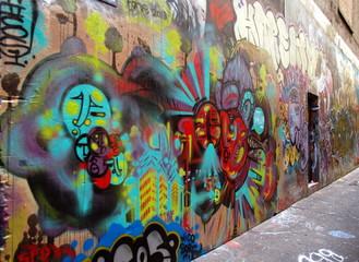 Street art, graffiti wall in tropical Airlie Beach, Australia