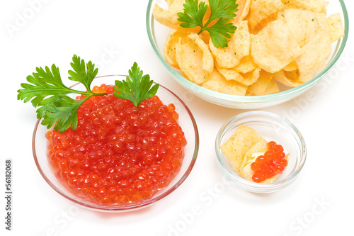 red caviar and potato chips on a white background