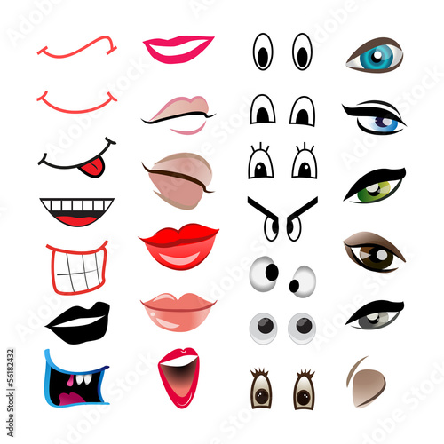 Cartoon Mouths And Eyes - Set, Isolated On White Backgroun