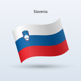 Slovenia flag waving form. Vector illustration.