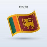 Sri Lanka flag waving form. Vector illustration.